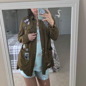 Zara army jacket wit patches